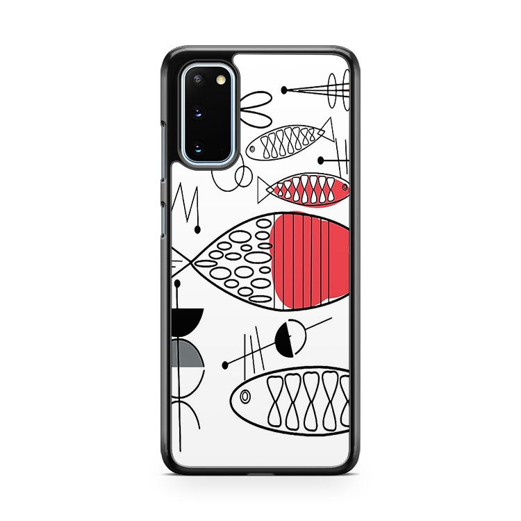 Mid Century Fish Salmon Pink Samsung Galaxy S20 Phone Case