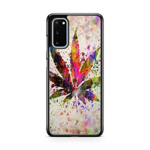 Marijuana Leaf In Color Aged Pixel Samsung Galaxy S20 Phone Case