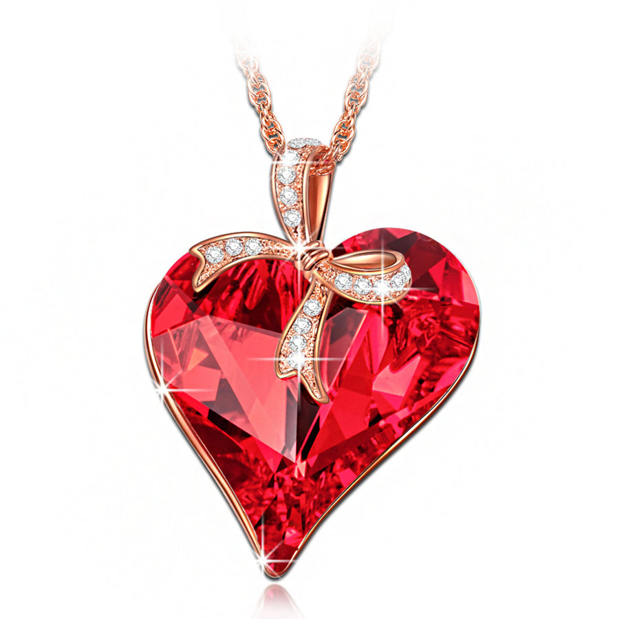 Crystal Ruby Heart Necklace