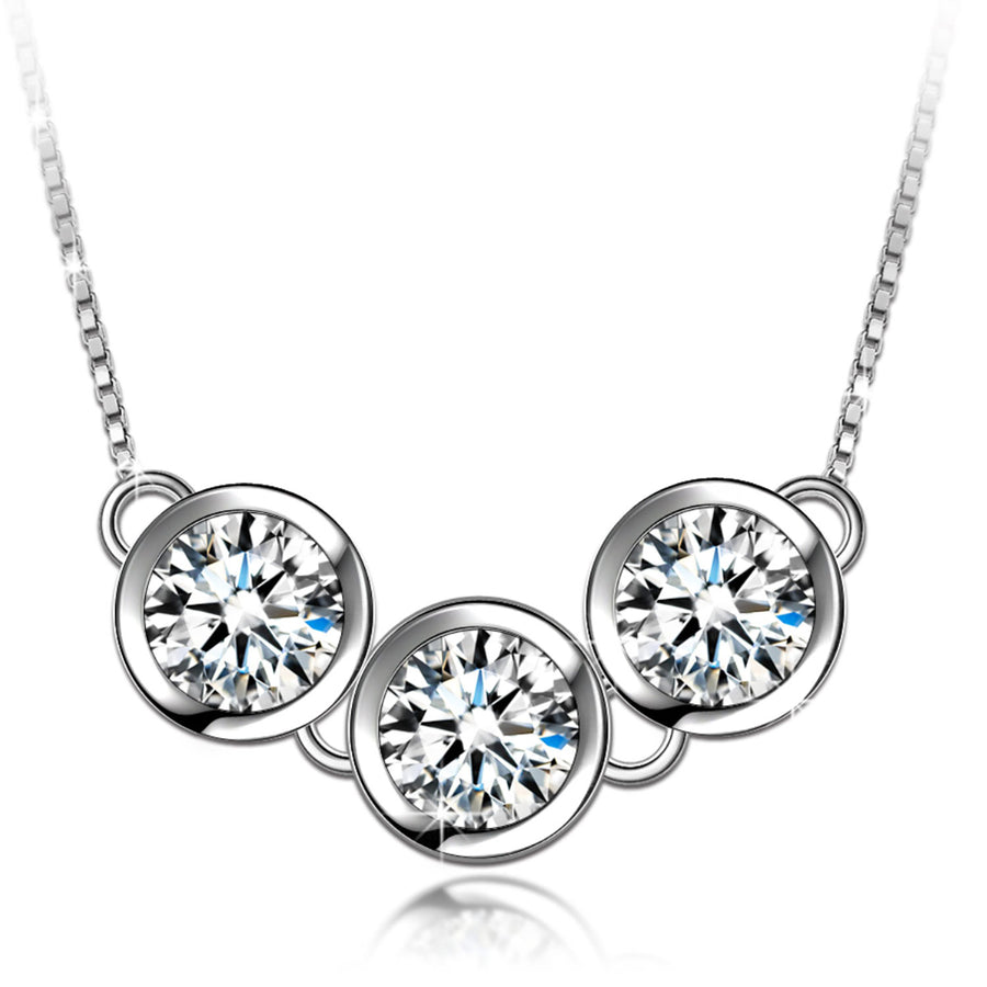 cubic zirconia station chain necklace
