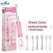 将图片加载到图库查看器,SEAGO Children Sonic Electric Toothbrush for 3-12 Ages Battery LED Sonic Kids Tooth brush Smart Timer Replacement Brush Heads