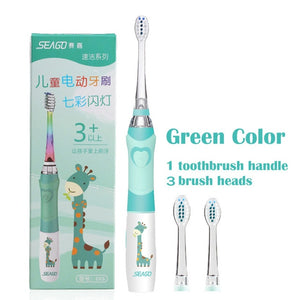 SEAGO Children Sonic Electric Toothbrush for 3-12 Ages Battery LED Sonic Kids Tooth brush Smart Timer Replacement Brush Heads