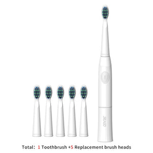 SEAGO Electric Toothbrush with 1 Replacement Brush Heads Battery Sonic Teeth Brush Deep Cleaning Included Soft-bristle E23