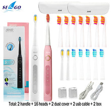 将图片加载到图库查看器,Seago Sonic Electric Toothbrush SG-507 Adult Timer Brush 5 Mode USB Charger Rechargeable Tooth Brushes Replacement Heads Set