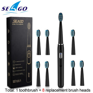 SEAGO Electric Toothbrush Rechargeable buy one get one free Sonic Toothbrush 4 Mode Travel Toothbrush with 3 Brush Head Gift