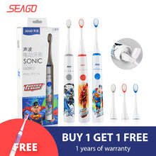 将图片加载到图库查看器,SEAGO Sonic Electric Toothbrush Upgraded Kid Safety automatic Toothbrush USB Rechargeable with 2 pcs Replacement Brush Head SK2
