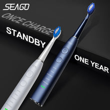 将图片加载到图库查看器,Seago Electric Sonic Toothbrush SG-575 USB Charge Rechargeable Adult Waterproof Electronic Tooth Brushes Replacement Heads Gift