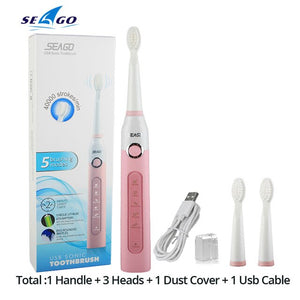 New Seago Sonic Electric Toothbrush SG-507 Adult Timer Brush USB Charger Rechargeable Tooth Brushes /Replacement Brush Heads/box