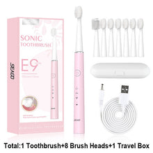 将图片加载到图库查看器,SEAGO Electric Toothbrush E9 Sonic Rechargeable Travel Waterproof Tooth Brush Buy 1 Get 1 Free 5 Mode Deep Clean Whiten Gift
