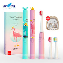 将图片加载到图库查看器,SEAGO Cartoon Children Electric Toothbrush Kids USB Rechargeable Sonic Replacement Tooth Cute Brush Heads Electric Teeth Brush