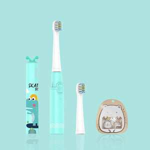 SEAGO Cartoon Children Electric Toothbrush Kids USB Rechargeable Sonic Replacement Tooth Cute Brush Heads Electric Teeth Brush