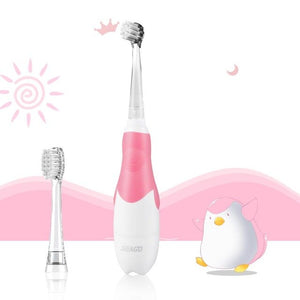 SEAGO Kids Electric Toothbrush sonic Suitable for 0-3 year Baby Safety BatteryTeeth brush Waterproof  White LED Light Gift SG513