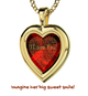 """I love you"" in 120 different languages in 24k gold Inscribed on Heart Frame Necklace"