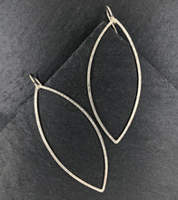 Load image into Gallery viewer, Encore: Long Leaf Shaped Silver Hoop Dangle Earrings
