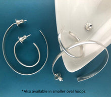 Load image into Gallery viewer, Jazz: Large Oval Silver Hoop Earrings