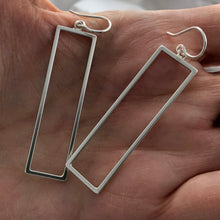 Load image into Gallery viewer, Twins: Slender Rectangle Dangle Hoop Earrings