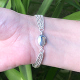 Bar Bracelet with Multi Silver Chain Strands