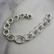 Load image into Gallery viewer, silver link bracelet on marble background