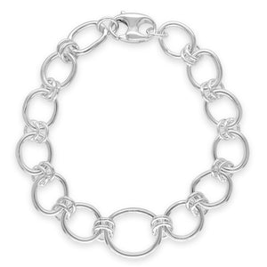 silver bracelet on white background