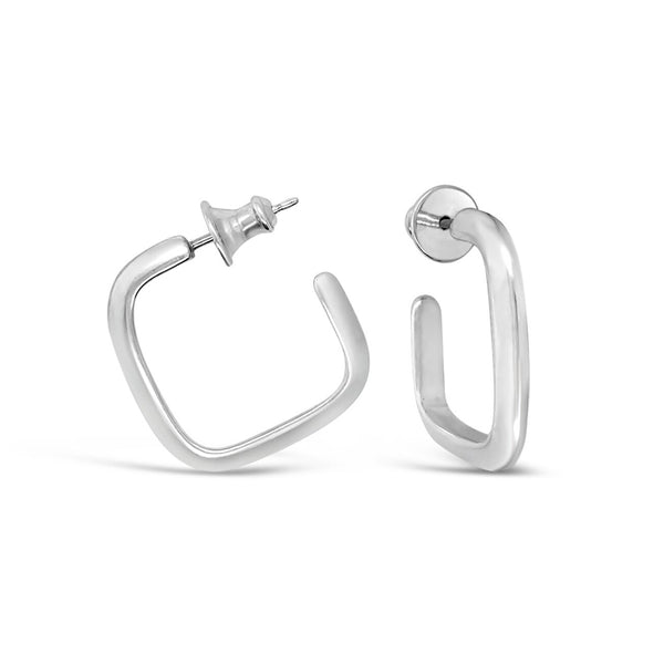 Balance: Medium Size Square Silver Hoops
