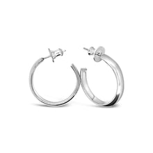Load image into Gallery viewer, Classic II: Medium Size Round Silver Hoop Earrings
