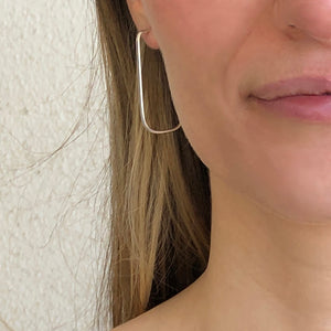 Pretty Parallels: Long Rectangle Silver Post Hoop Earrings