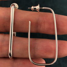 Load image into Gallery viewer, Pretty Parallels: Long Rectangle Silver Post Hoop Earrings