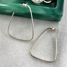Load image into Gallery viewer, Intrigue: Triangle Silver Hoop Earrings