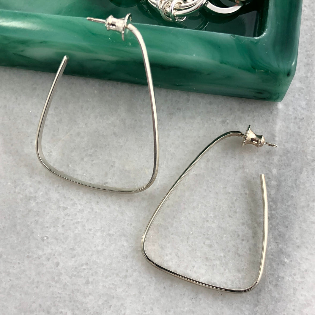 Intrigue: Triangle Silver Hoop Earrings