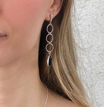 Load image into Gallery viewer, Onyx Wish: Onyx Drops from Long Silver Dangle Post Earrings