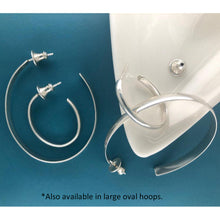 Load image into Gallery viewer, Elliptics: Medium Size Oval Silver Hoop Earrings