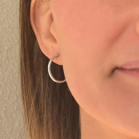 Cycles: Medium Size Silver Hoop Earrings