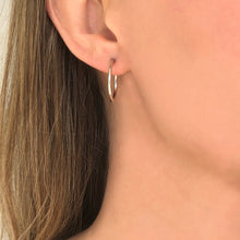 Load image into Gallery viewer, Cycles: Medium Size Silver Hoop Earrings