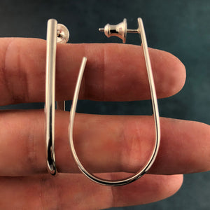 Mellowed: Semi Oval Silver Long Post Hoop Earrings