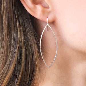 Encore: Long Leaf Shaped Silver Hoop Dangle Earrings