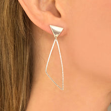 Load image into Gallery viewer, Swing: Triangle Silver Post Earrings and Dangles