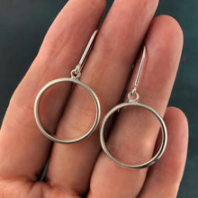 Load image into Gallery viewer, Bands: Dangle Silver Round Hoop Earrings