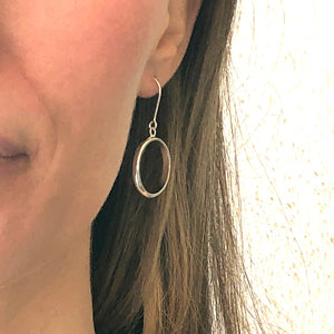 Bands: Dangle Silver Round Hoop Earrings