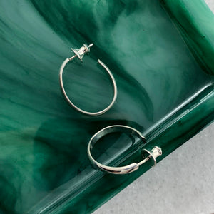 Elliptics: Medium Size Oval Silver Hoop Earrings