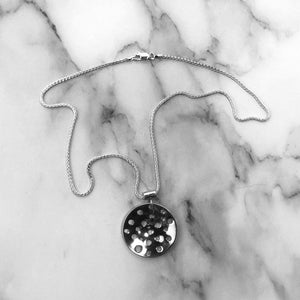 Silver Domed Pendant Necklace