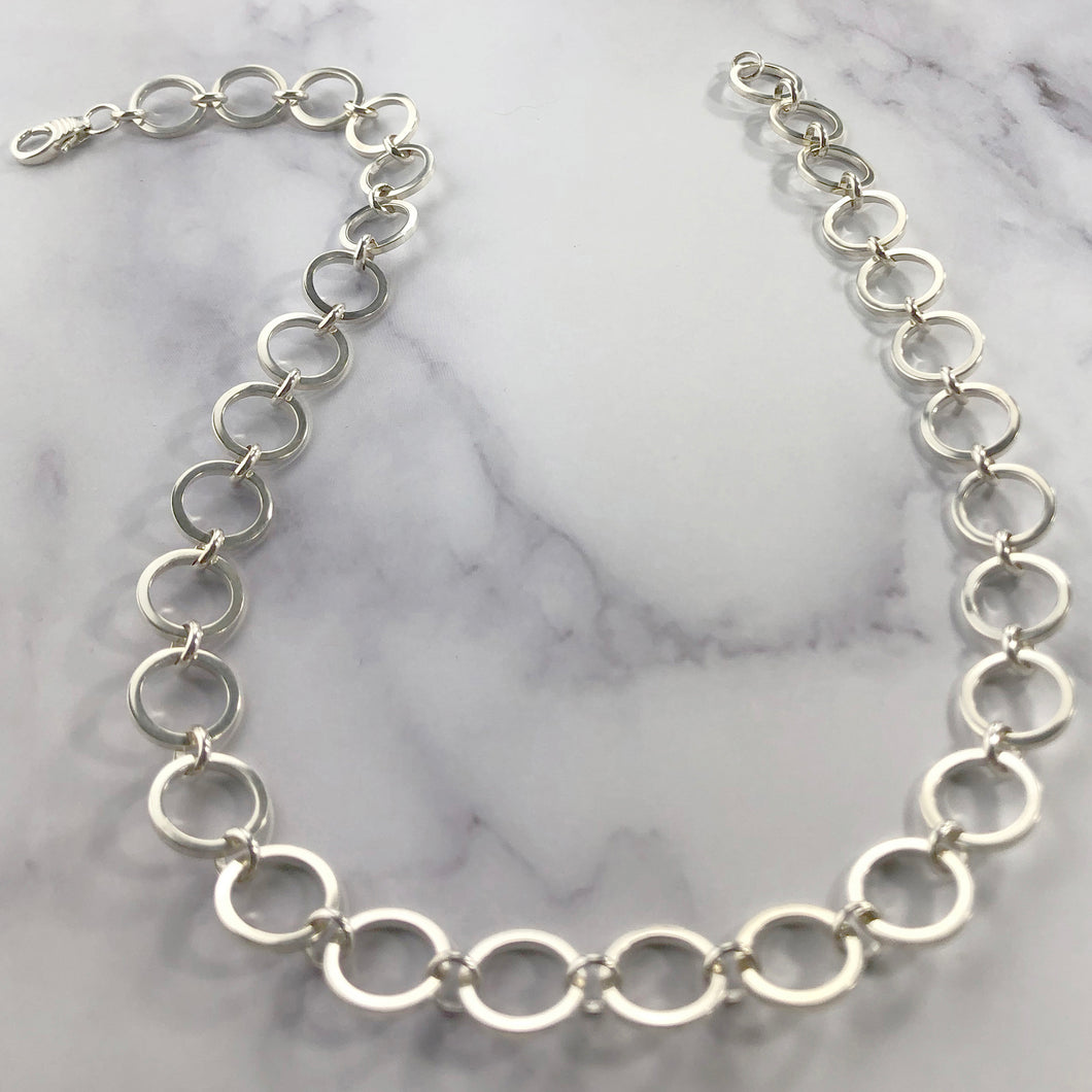 Silver Round Large Link Chain Necklace