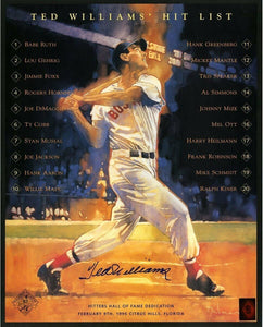 Ted Williams Signed 16x20 Autograph Hit List Poster Green Diamond Authenticated