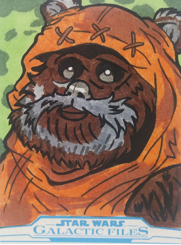 Wicket Ewok Artist Sketch Card Ibrahim Ozkan Star Wars Galactic Files Topps 1/1