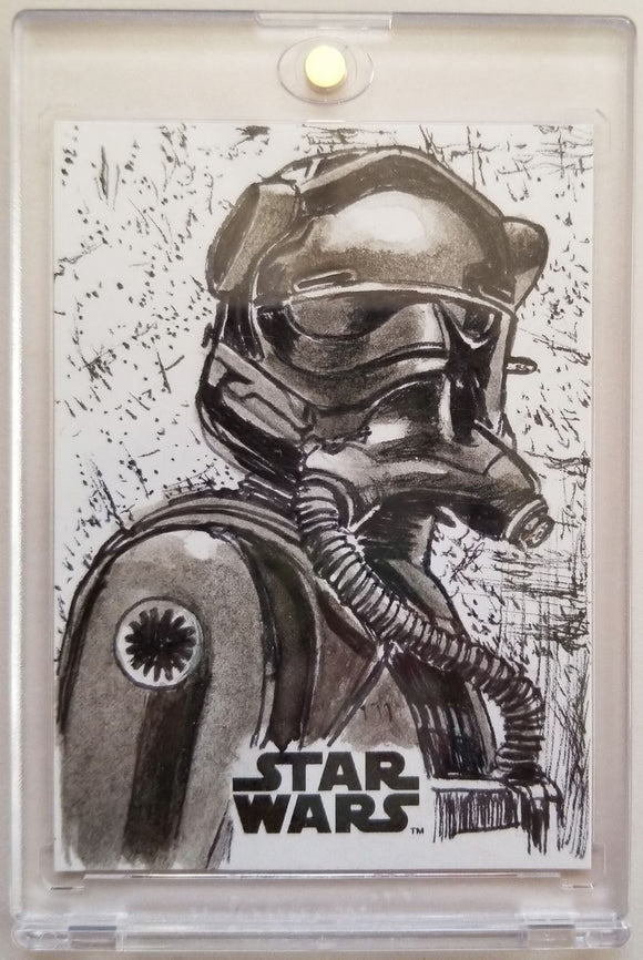 Tie Fighter Pilot Star Wars: The Last Jedi Sketch Card Neil Camera Topps 1/1