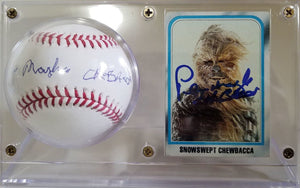 Peter Mayhew Chewbacca  Signed Autographed Baseball & Vintage ESB Trading Card