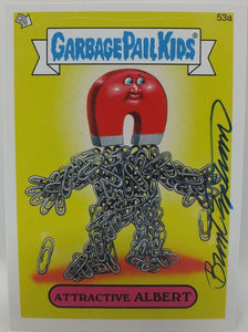 Attractive Albert #53a Garbage Pail Kids Sticker Trading Card Signed by Engstrom