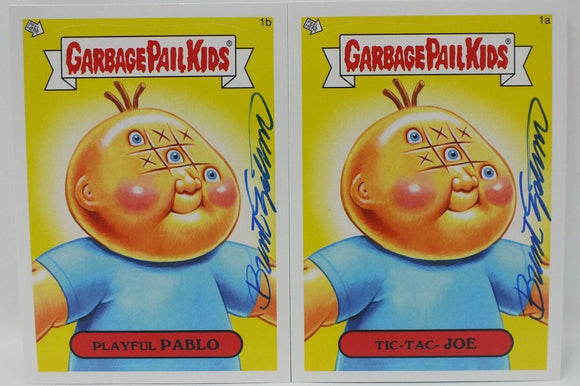 Playful Pablo Tic-Tac-Joe Garbage Pail Kids Sticker Cards Signed by Engstrom