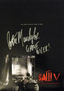 "SAW V 13.5""x20"" ""B"" Promotional Movie Poster Signed by Costas Mandylor COA"