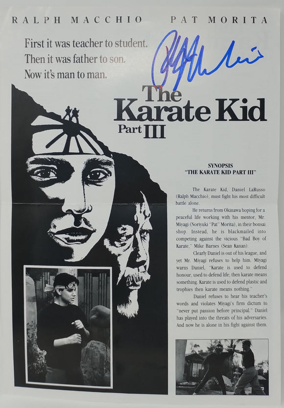Ralph Macchio Autographed Karate Kid III Press Flyer Promo 1989