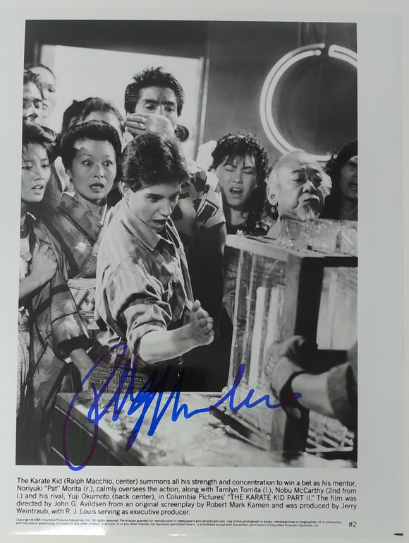 Ralph Macchio Autographed Karate Kid II 8x10 Press Photo 1986 Chop Ice